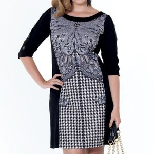 Zulily Black & White Houndstooth Lace Shift Dress